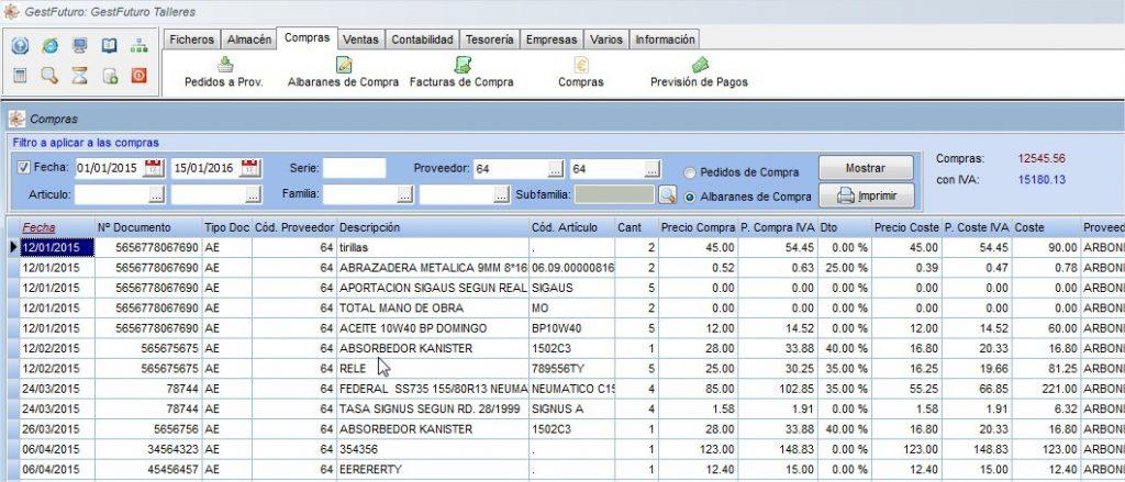Imagen de una lista de compras del software de taller de Futuro Informática
