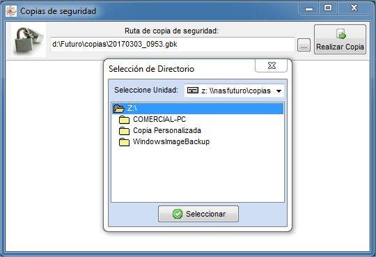 Imagen de la pantalla de copia de seguridad del software para taller