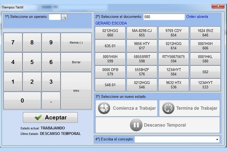 Imagen de la pantalla de control de tiempos de los empleados del taller