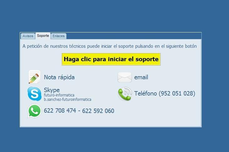 Enlaces para contacto y soporte de los programas de facturacion