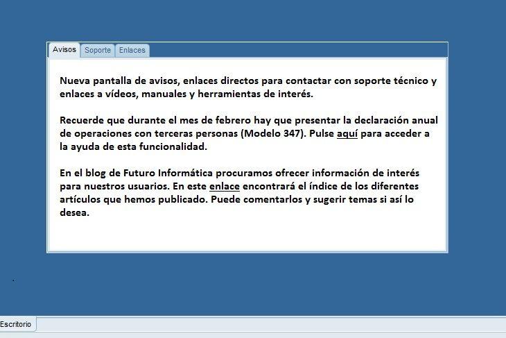 Imagen de la nueva ventana de avisos de los programas de facturación