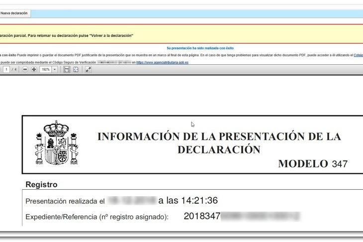 Imagen del resguardo de presentación del modelo 347 ayudado por programas de facturacion