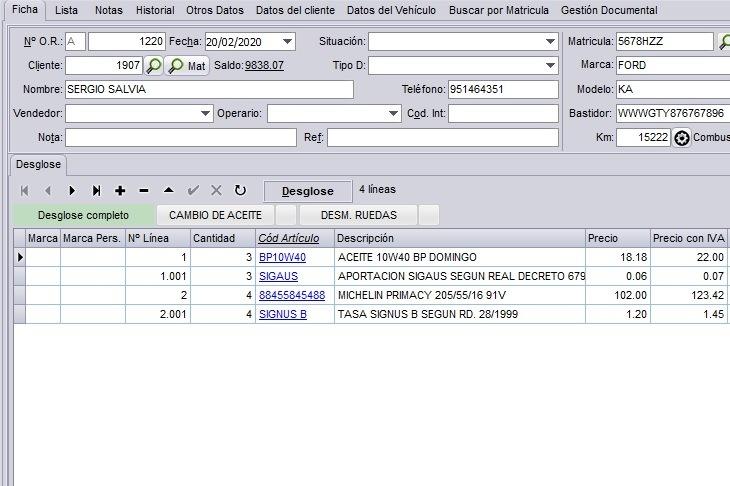 Pantalla mostrando las imputaciones en el software de taller de Futuro Informática Profesional.