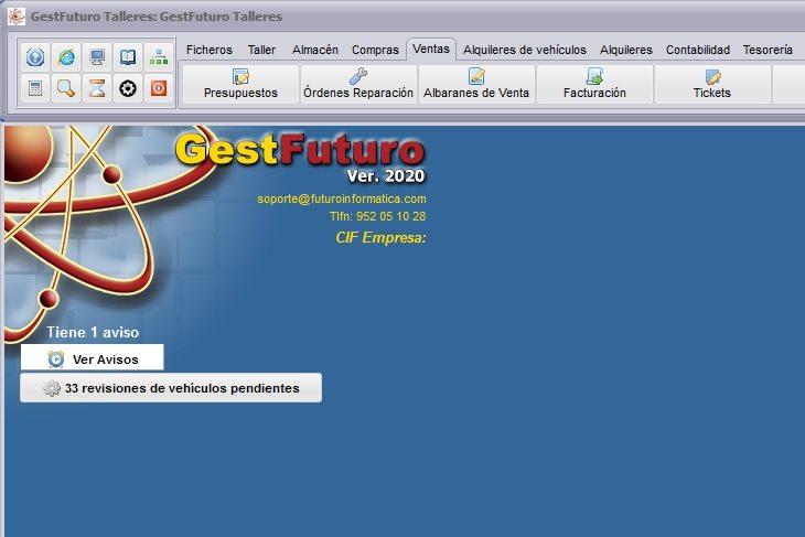 Imagen del escritorio del software para talleres de Futuro Informática dónde se muestran los accesos a los avisos de revisiones e ITV, y los avisos genéricos
