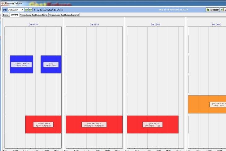 Imagen de la pantalla de planning de citas de GestFuturo software para taller mecánico