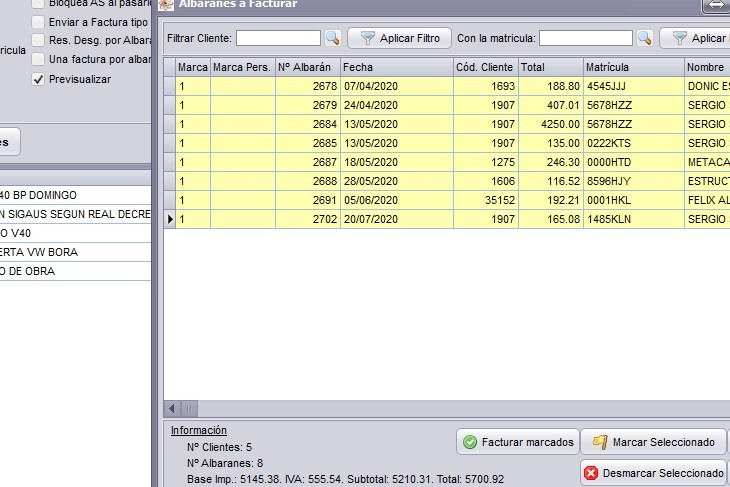 Imagen del proceso de facturacion en el software de taller mecanico de Futuro Informatica
