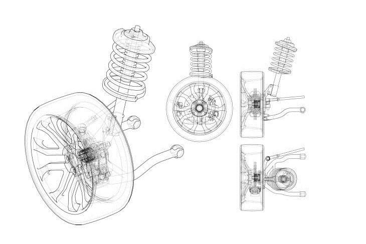 Software de taller: Imagen del esquema de una rueda y suspensión