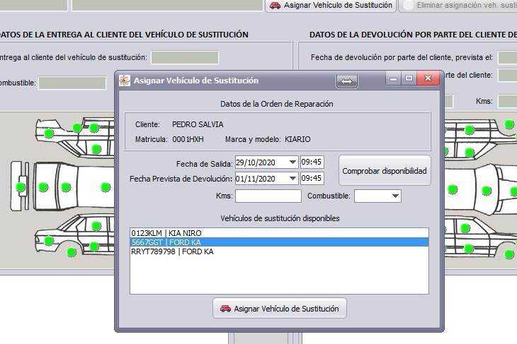 Ventana de asignación de vehículo de sustitución en GestFuturo programa de gestión para taller