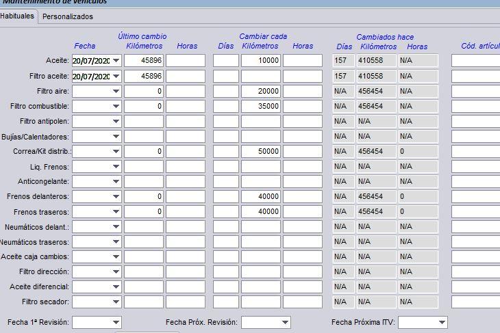 Programa de gestión para taller mecánico: pantalla para la anotación de los mantenimientos efectuados al vehículo