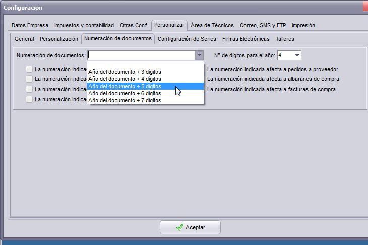 Imagen de la pantalla de configuración de la numeración en el software de taller.