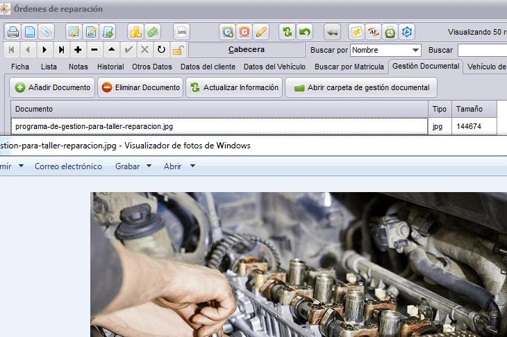 El programa de gestión para taller de Futuro Informática permite guardar imágenes de las reparaciones.