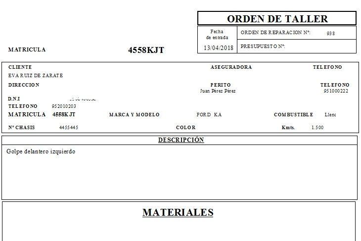 Impreso de orden de taller el el programa para taller mecánico